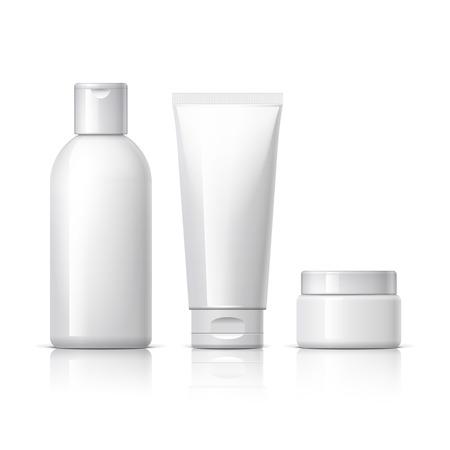 un conjunto de productos cosméticos en un fondo blanco. colección de paquetes de cosméticos para la crema, sopas, espumas, champú. Objeto, la sombra y la reflexión en capas separadas. ilustración vectorial.