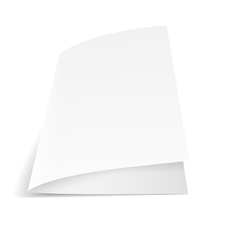 folded paper: A sheet of paper folded in half. Mock Up Template. Vector illustration