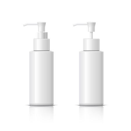 Realistic Cosmetic bottle can sprayer container. Dispenser for cream, soups, and other cosmetics With lid and without. Template For Mock up Your Design. vector illustration.