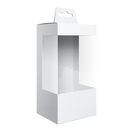plastic window: Light Realistic Package Cardboard Box with a transparent plastic window.  Template For Mockup Your Design. vector illustration.