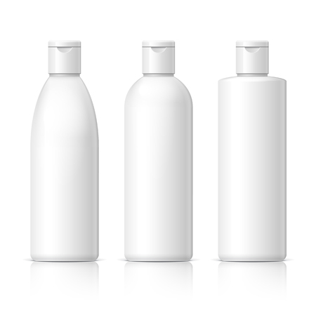 흰색 배경에 화장품의 집합입니다. 크림, 수프, 폼, 샴푸, 화장품 패키지 컬렉션입니다. 개체, 그림자, 별도의 레이어에 반사. 벡터 일러스트 레이 션입니다.