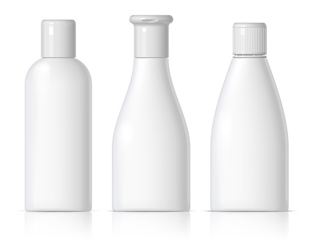 plastic bottles: set of cosmetic products on a white background. Cosmetic package collection for cream, soups, foams, shampoo. Object, shadow, and reflection on separate layers. vector illustration.