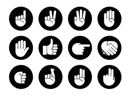 Handgebaren. Pictogrammen instellen Platte stijl vector iconen, embleem, symbool, voor uw ontwerp Vector Illustratie
