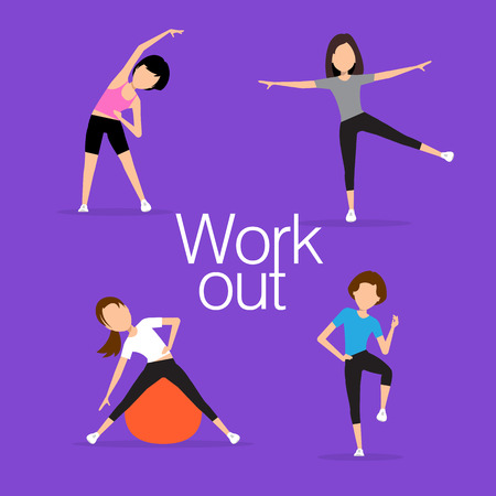 Aerobics. Train create a figure. Pulling muscles of women. Dropping excess fat. illustration.