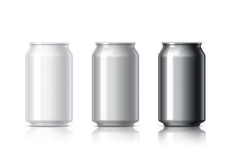 aluminum cans: white black and gray aluminum cans for beer and soft drinks or energy. Packaging 330 ml. Object, shadow, and reflection on separate layers. illustration