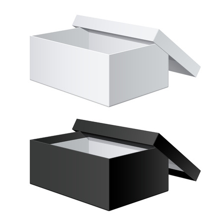 White and Black blank Package Box Opened with the cover removed. For shoes, electronic device and other products. illustration