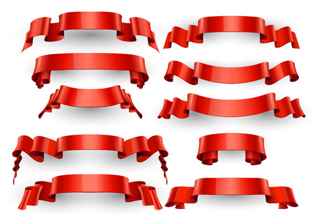 Realistic Red Glossy ribbons. Large set. Illustration