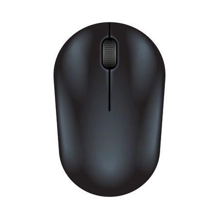 Black realistic computer mouse. Matte finish soft touch. illustration on white background. Stock fotó - 57125549
