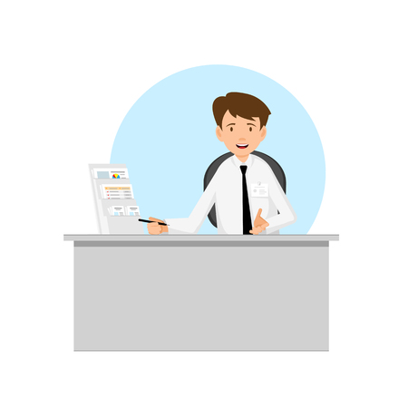 consultant: Businessman, manager, consultant at work. Offer to sign a contract. Flat Design illustration.