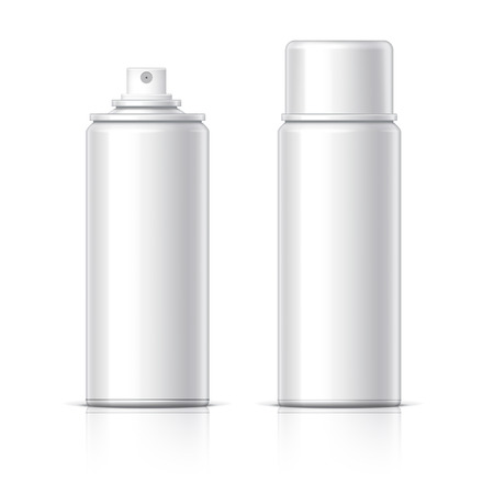 Realistic Cosmetic glass bottle can sprayer container. Dispenser for cream, soups, and other cosmetics With lid and without. Template For Mock up Your Design.