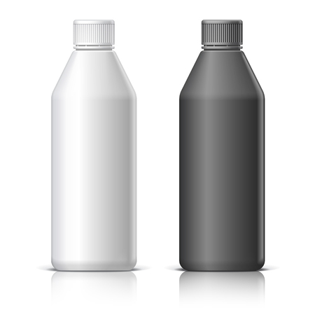 Big plastic bottle for cosmetics. In black and white. Packing for shampoo, conditioner, bath foam.