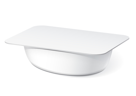 jams: Slim White blank plastic container for yogurt, jams and other products. Illustration