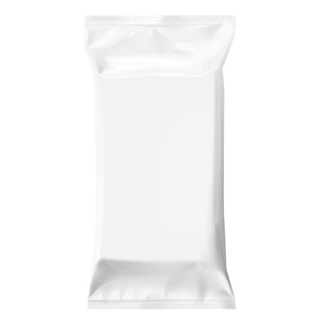 Realistic White Blank template Packaging Foil for wet wipes. 3d realistic foil package. Package for food. Template For Mock up Your Design.