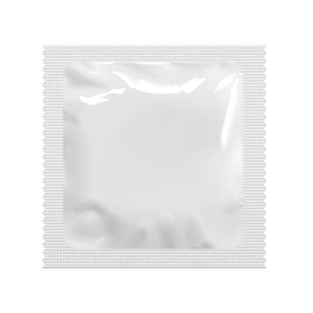 Realistische White Blank template verpakkingsfolie vochtige doekjes Pouch Medicine Or Condom. Verpakking van levensmiddelen koffie, zout, suiker, peper, specerijen, snoep. Sjabloon voor Mock up Uw Ontwerp. Stock Illustratie