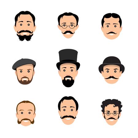 bowler hats: Vintage gentleman portrait set. Retro Collection of diverse male faces. Illustration