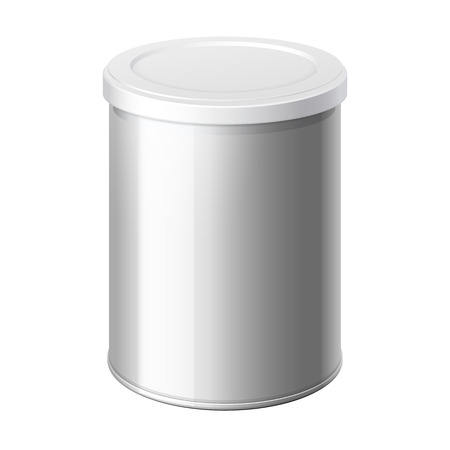 loose: metal can with a lid. Packing for coffee or loose products. Bank for sugar, salt, pepper and spices. Template For Mock up Your Design. Illustration