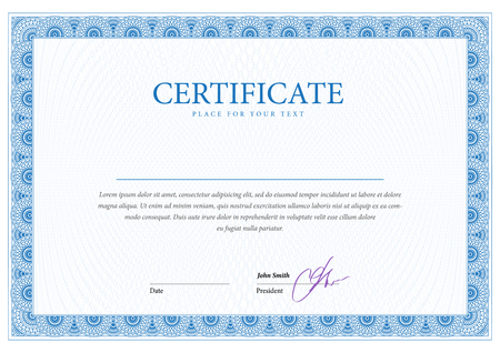 blue border: Certificate. Template diplomas currency. Award background. Gift voucher.