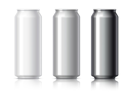 aluminum: white black and gray aluminum cans for beer and soft drinks or energy. Packaging 500 ml. Object, shadow, and reflection on separate layers.