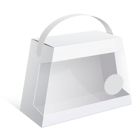 plastic window: Light Realistic Package Cardboard trapezoidal Box with a handle and a transparent plastic window. Vector illustration