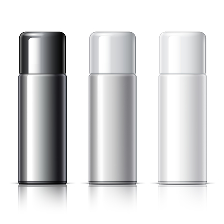 Realistic White Cosmetics bottle can Spray, Deodorant, Air Freshener. With lid. White black and gray colors. Object, shadow, and reflection on separate layers. Illustration