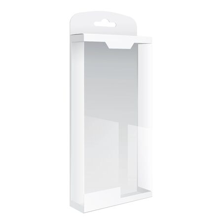 plastic window: Light Realistic Package Cardboard Box with a transparent plastic window. Template For Mockup Your Design.