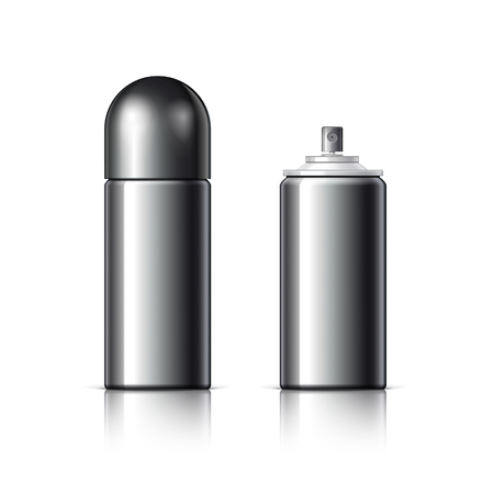 freshener: Realistic Black Cosmetics bottle can Spray, Deodorant, Air Freshener. With lid. White black and gray colors. Object, shadow, and reflection on separate layers. Illustration