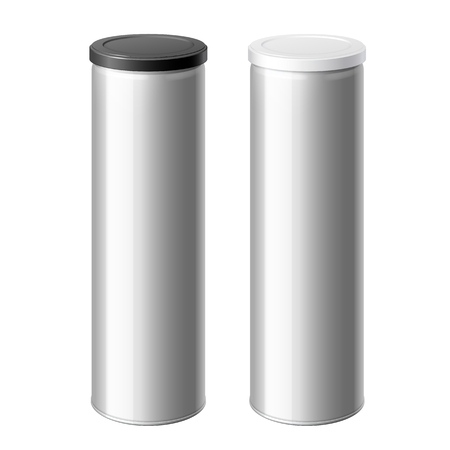 tincan: metal can set with a black and White lid. Packing for coffee or loose products. Bank for sugar, salt, pepper and spices. Template For Mock up Your Design. Illustration