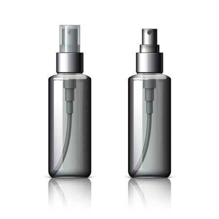 Realistische Kosmetikflasche kann Behälter Sprayer. Spender für Sahne, Suppen und andere Kosmetika Mit Deckel und ohne. Vorlage für Mock up Ihr ??Design. Vektor-Illustration.