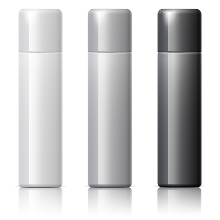 odors: Realistic White Cosmetics bottle can Spray, Deodorant, Air Freshener. With lid. White black and gray colors. Object, shadow, and reflection on separate layers. Vector illustration Illustration