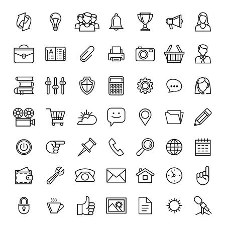 iconos de líneas conjunto aislado ilustración. Los iconos de negocios, administración, finanzas, estrategia, planificación, análisis, la banca, la comunicación, la red social, el marketing de afiliación.