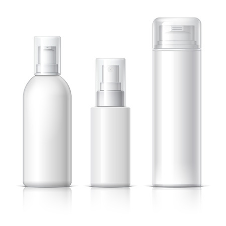 Realistic Cosmetic bottle can sprayer container. Dispenser for cream, soups, and other cosmetics With lid. Template For Mock up Your Design. vector illustration. Çizim