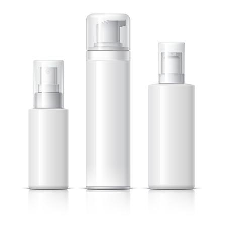 Botella cosmética realista puede pulverizador contenedor. Dispensador de crema, sopas, y otros cosméticos con tapa. Plantilla Para burlarse de su diseño. ilustración vectorial. Foto de archivo - 60338327