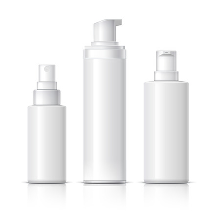 Realistic Cosmetic bottle can sprayer container. Dispenser for cream, soups, and other cosmetics. Template For Mock up Your Design. vector illustration. Vettoriali