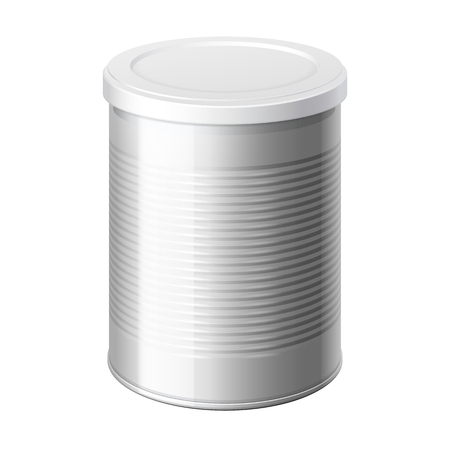 white sugar: metal can with a white lid. Packing for coffee or loose products. Bank for sugar, salt, pepper and spices. Template For Mock up Your Design. vector illustration.