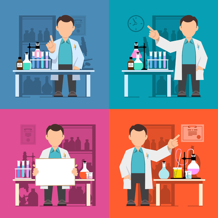 biology instruction: Set Character, scientist, teacher, doctor in science research laboratory. Vector illustration of a man in a white coat. Flat style.