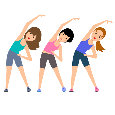 excess: Aerobics. Train create a beautiful figure. Pulling muscles of women. Dropping excess fat.