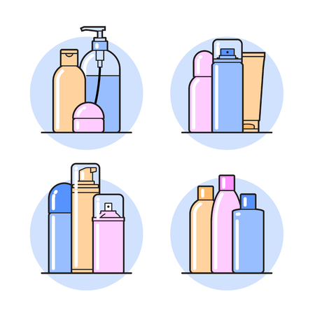 foam: set of cosmetic icons on a white background. Illustration