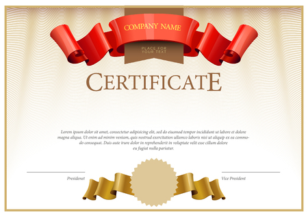 Certificate. Award background. Gift voucher. Template diplomas currency illustration Illustration