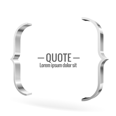glossy: Parentheses sign. Quote message Shiny metal banner. For Your Design. Vector illustration.