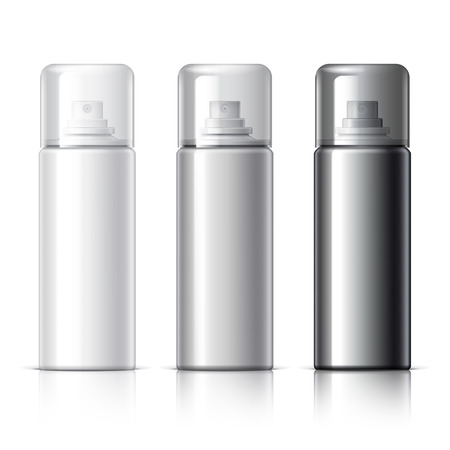 freshener: Realistic White Cosmetics bottle can Spray, Deodorant, Air Freshener. With lid. White black and gray colors. Object, shadow, and reflection on separate layers. Vector illustration Illustration