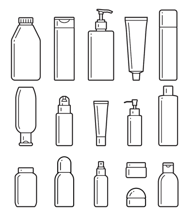 shaver: set of cosmetic bottles icons on a white background. Illustration