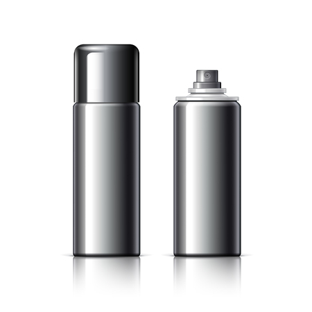 shaver: Realistic Cosmetic bottle can sprayer container. Dispenser for cream, soups, and other cosmetics With lid and without. Template For Mock up Your Design. vector illustration.