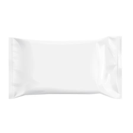 Realista de la hoja blanca en blanco plantilla de embalaje para las toallitas húmedas. 3d paquete de aluminio realista. Paquete para la comida. Plantilla Para burlarse de su diseño. ilustración vectorial. Ilustración de vector