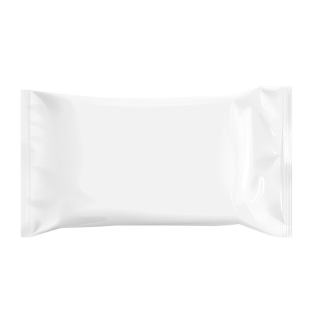 polythene: Realistic White Blank template Packaging Foil for wet wipes. 3d realistic foil package. Package for food. Template For Mock up Your Design. vector illustration. Illustration