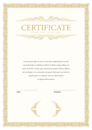 sertificate: Certificate. Template diplomas currency. Award background. Gift voucher. Vector