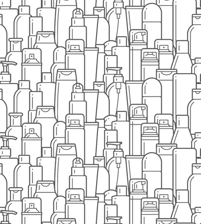 medical shower: pattern of cosmetic bottles on a white background. Cosmetic collection for cream, soups, foams, shampoo. vector illustration.