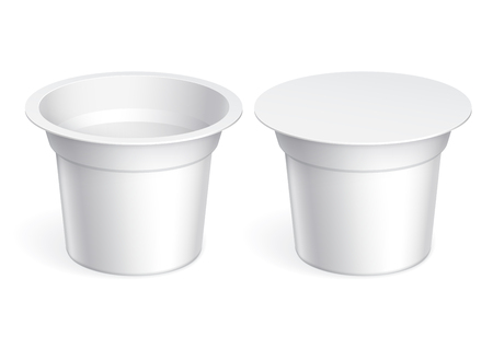 plastic container: White blank plastic container for yogurt, jams and other products. Vector illustration Illustration