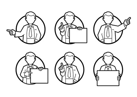 Doctor, scientist, teacher. Set icons of different poses and gestures paying attention or point to anything. Vector illustration of a man in a white coat.