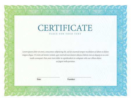 sertificate: Certificate. Vector Template diplomas currency. Award background Gift voucher. Illustration