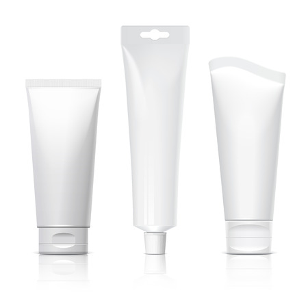 Realistic tube. Set of cosmetic products on a white background. Cosmetic package collection for cream, soups, foams, shampoo, tooth paste, glue. Object, shadow, and reflection on separate layers. vector illustration.